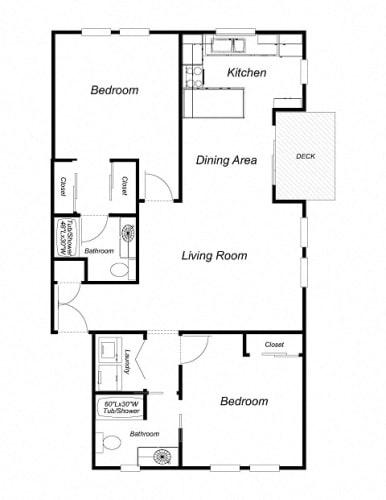 Floor Plan  2-Bedroom, 2-Bath