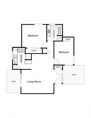 Floor Plan  2-Bedroom, 1-Bathroom