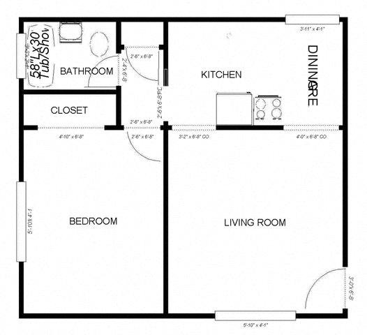 Floor Plan  1-Bedroom, 1-Bath - Plan B