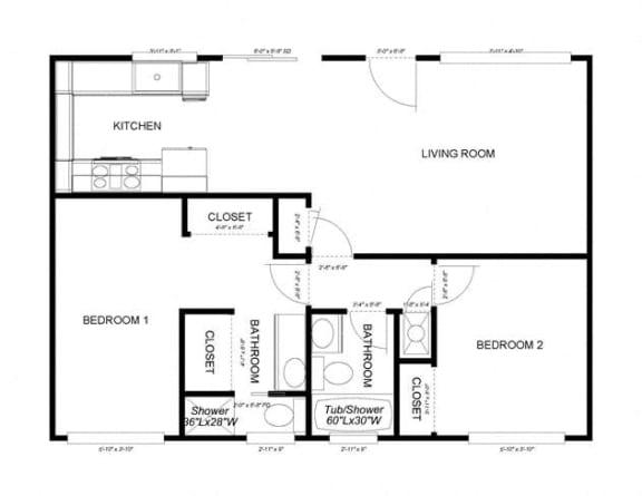 Floor Plan  2-Bedroom, 2-Bath Downstairs