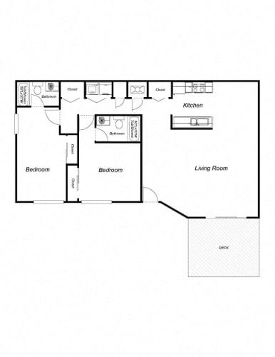 Floor Plan  2 bedroom, 2 bath A