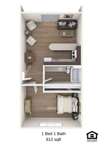 Floor Plan  The Groove Vancouver, Washington One Bedroom One Bath 3D Floor Plan
