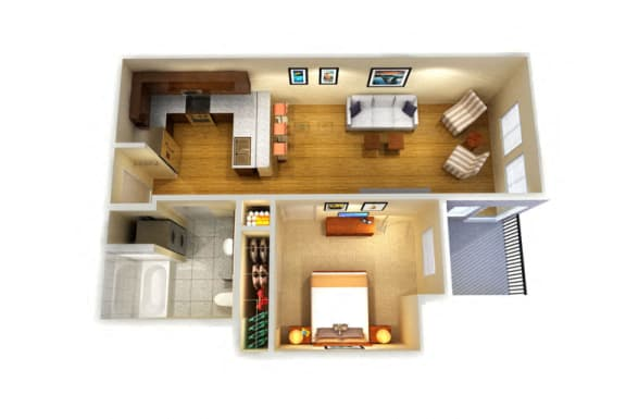 Floor Plan  One Bed One Bath A