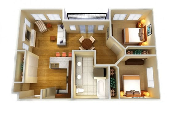 Floor Plan  Two Bed One Bath A