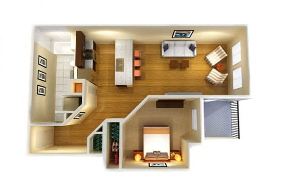 Floor Plan  One Bed One Bath C