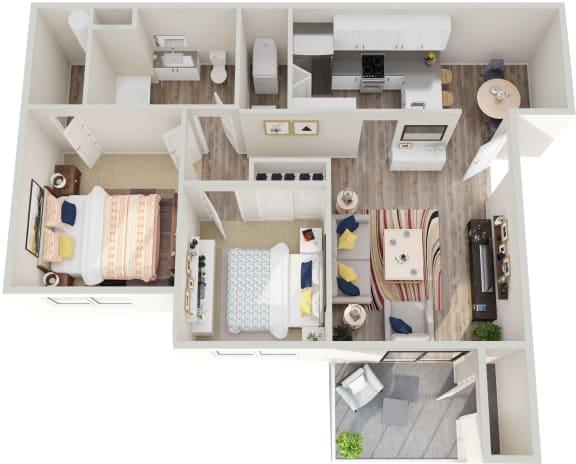 Floor Plan  GoGo West 2 Bedroom 1 Bath Floor Plans