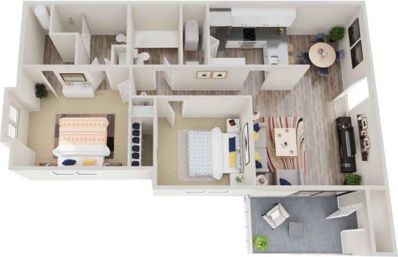 Floor Plan  GoGo West 2 Bedroom 2 Bath Floor Plans