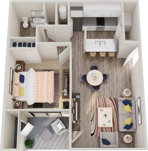 Floor Plan  GoGo West Apartments 1 Bedroom 1 Bath Floor Plans