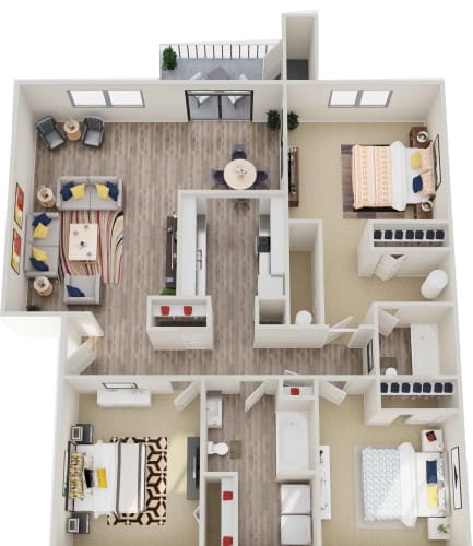 Floor Plan  GoGo West Apartments 3 Bed 2 Bath 3D Floor Plan