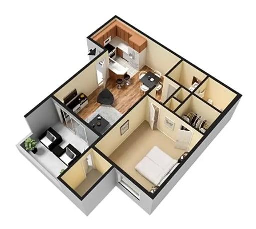 Floor Plan  1x1 floor plan Vista Pointe Apartment Homes | Covina CA 91724