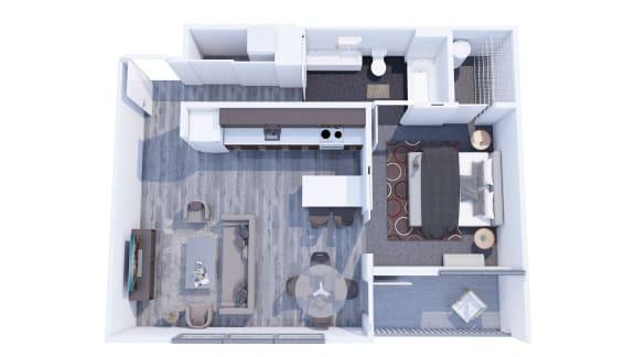 Floor Plan  Range Apartments 1x1 A Floor Plan