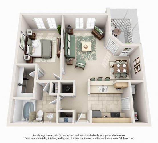 Floor Plan  1 Bedroom 1 Bathroom Floor Plan at Seasons at Westchase, Tampa, Florida