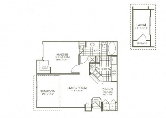 Floor Plan  Aster Dewberry 1Bed_1Bath at The Palms Club Orlando Apartments, Florida