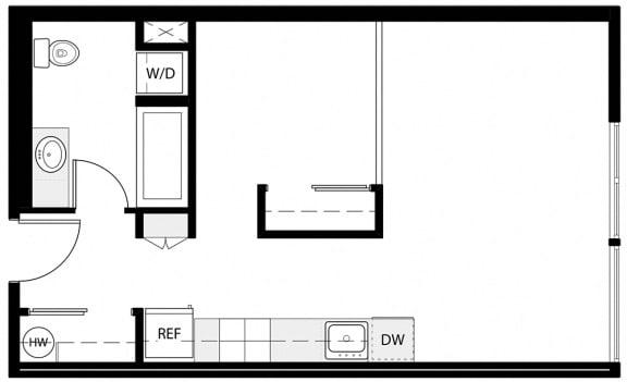 Floor Plan  Open 1x1 A