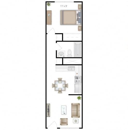 Floor Plan  1x1 West A