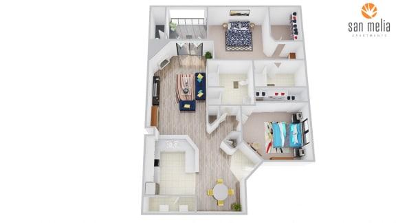 Floor Plan  San Melia Apartments Desert Bloom Premier Floor Plan