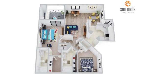Floor Plan  San Melia Apartments Palm Breeze Premier Floor Plan