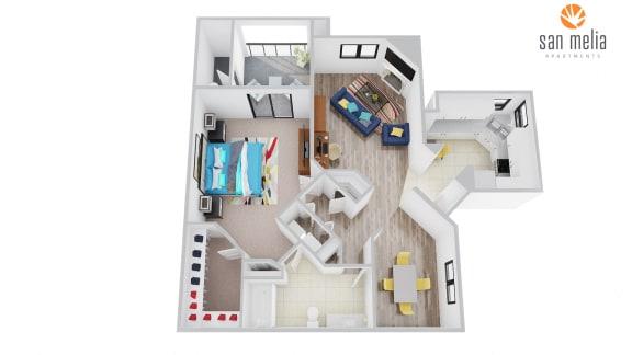 Floor Plan  San Melia Apartments Waterfall Premier Floor Plan