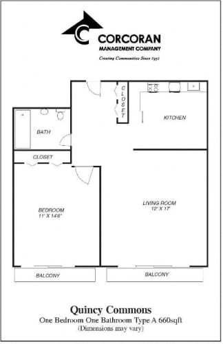 Floor Plan  Quincy Commons One Bedroom Apartment Floorplan