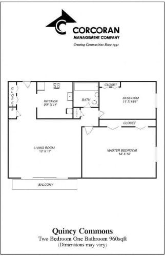 Floor Plan  Two Bedroom Near MBTA Red Line Quincy MA