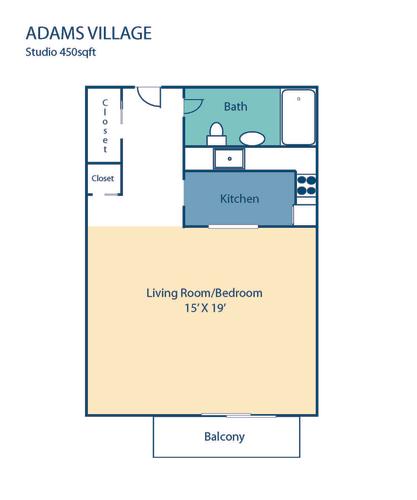 Floor Plan  Adams Village Studio Floorplan