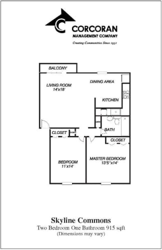 Floor Plan  Rent this Large Two Bedroom Cat Friendly Layout at Skyline Commons