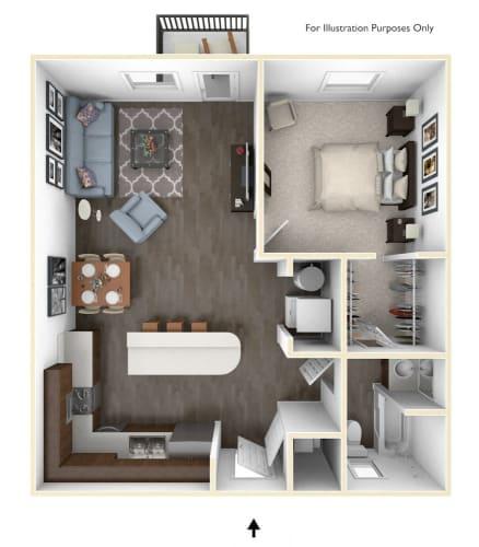 Floor Plan  Dakota Flats 1x1 Floor Plan