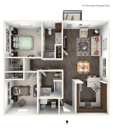 Floor Plan  Dakota Flats 2x2 Floor Plan