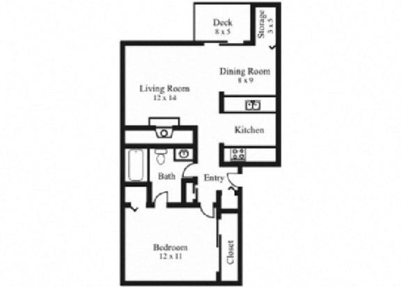 Floor Plan  1Bedroom, 1Bath - Contemporary