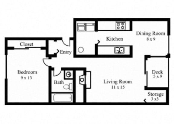 Floor Plan  1Bedroom, 1Bath - Large