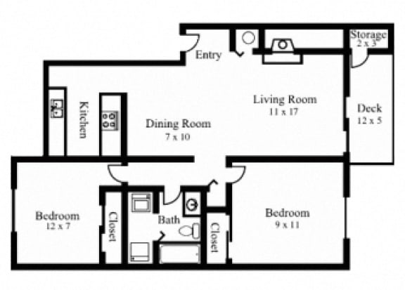 Floor Plan  2Bedroom, 1Bath - Traditional