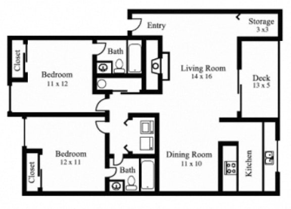 Floor Plan  2Bedroom, 2Bath - Traditional
