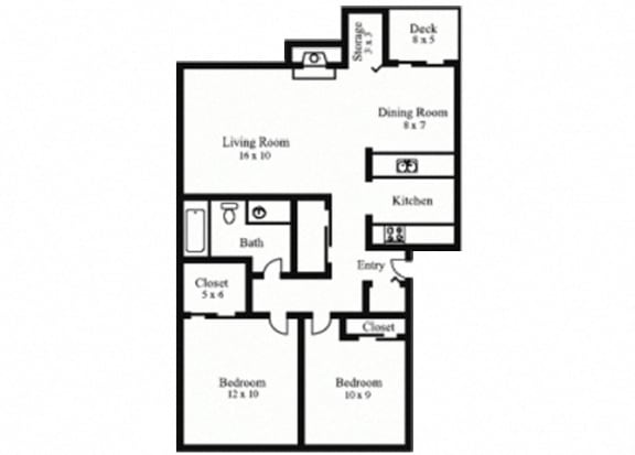Floor Plan  2Bedroom, 1Bath - Contemporary