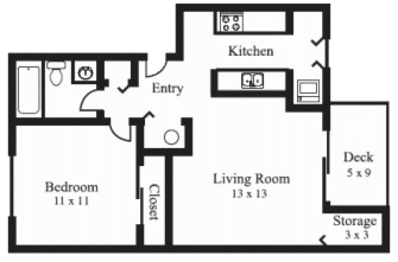 Floor Plan  1Bedroom, 1Bath - Small