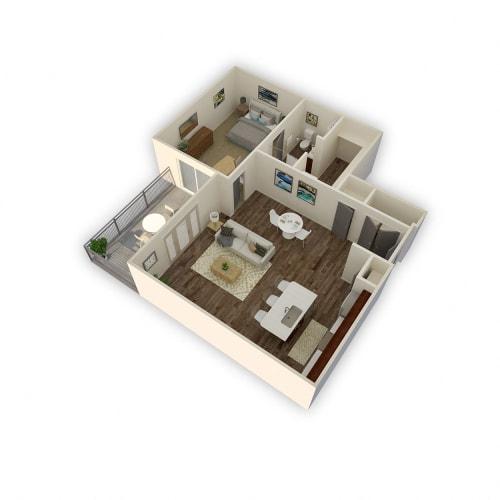 Floor Plan  Axio-Capricorn- 1 Bed 1 Bath