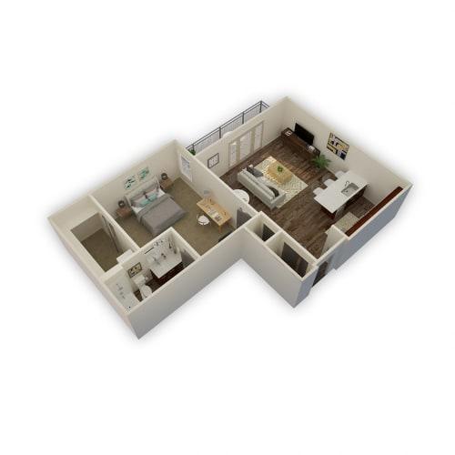 Floor Plan  Axio-Meridian- 1 Bed 1 Bath