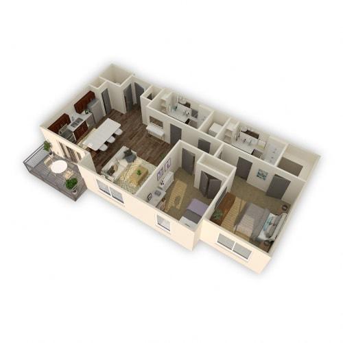 Floor Plan  Axio-Tropic-2 Bed 2 Bath