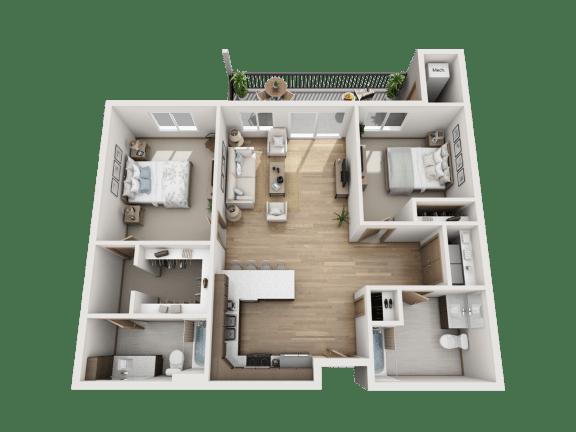 Floor Plan  2 Bed | 2 Bath ADA (C1)