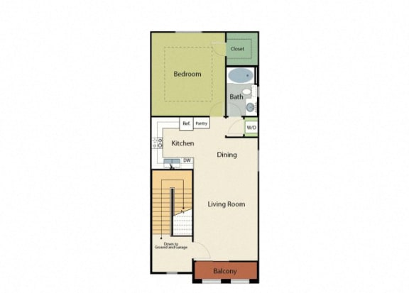 Floor Plan  One Bedroom Apartments in Roseville, CA l Adora Apartments