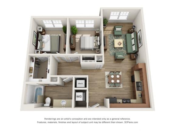 Floor Plan  2 Bed 1 Bath B1 Floor Plan at The Elliott Senior Apartments, Texas