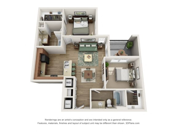 Floor Plan  2 Bed 2 Bath B2 Floor Plan at The Elliott Senior Apartments, Texas, 76002