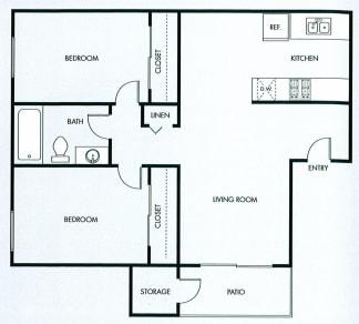 Floor Plan  Two bedroom one bath floor plan