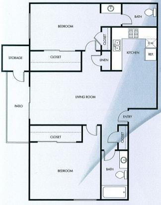 Floor Plan  Two bedroom Two bath floor plan