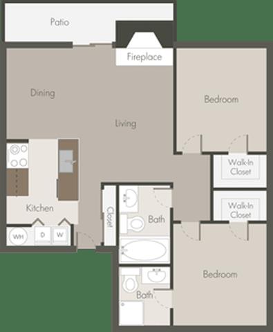 Floor Plan  2 Bed 2 Bath_A
