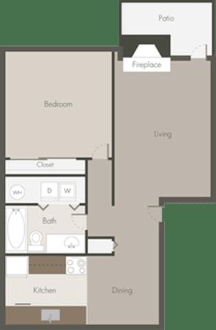 Floor Plan  1 Bed 1 Bath_D
