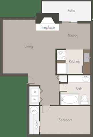 Floor Plan  1 Bed 1 Bath_C