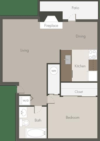 Floor Plan  1 Bed 1 Bath_A
