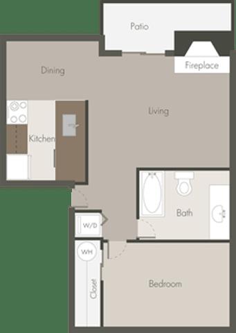 Floor Plan  1 Bed 1 Bath_B
