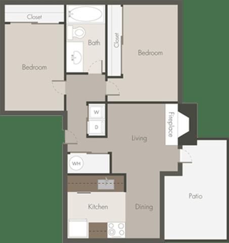Floor Plan  2 Bed 1 Bath_A
