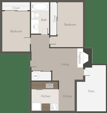 Floor Plan  2 Bed 1 Bath_B
